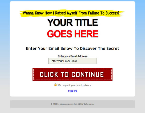 SQUEEZE PAGE TEMPLATES - Free squeeze page templates